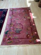 Handmade Antique Art Deco Chinese Rug 4.1and039 X 6.10and039 1920s - 1n01