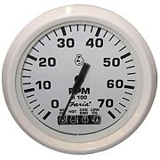 Faria Dress White 4 Tachometer System Check Indicator Engine Overheat And Flat