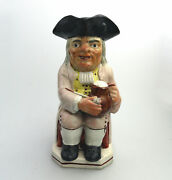 Antique English Pottery Good Staffordshire Character Toby Jug C.early 19thc