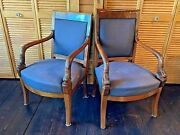 Two Antique French Empire Mahogany Armchairs