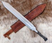 Rail Road Steel Dagger With Twisted Handle Genuine Leather Sheath Hand Forged