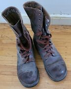 1953 Korean War- Usa Men's Combat Brown Leather Boots Size 6.5, In Great Shape