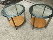Ethan Allen Elements Collection Set Of 2 Glass/metal/wood Modern End Tables