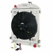 4-row Core Racing Radiator+shroud+fan For 1930 1931 Ford Model A Hi Boy Chevy V8