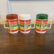3 Life Savers Candy Cup Green White Red Lid Vintage Deka Mug Drinking Glass