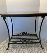 Longaberger Wrought Iron Library Table + Woodcrafts Shelf Warm Brown