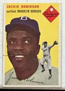 1954 Topps Jackie Robinson 10 Vg+ Print Defect Decent Centering Hof