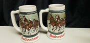 Lot Of 2 1982 Budweiser 50th Anniversary Clydesdale's Holiday Beer Stein Mug 193
