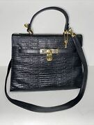 Due-fratelli Leather Clutch Purse Embossed Leather Bag Made In Germany