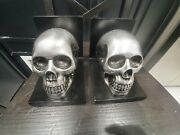 🤘💀rare Pair Memento Mori Skull Bookends Spell Book Ends Gothic Vintage Wizard