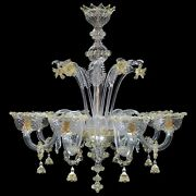 Chandelier Glass Murano Large 8luci Amber Or Customizable Authentic Murano