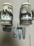 Budweiser Stein Lot Of 2 1981 And A Lot Of Bottle Openers