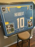Justin Herbert Authentic Autograph Framed Jersey Coa Nfl Chargers