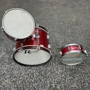 Rare 1960andrsquos Rogers Powertone Tom Snare Bass Drum Set Red Sparkle - Excellent
