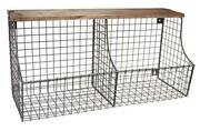 Vintage Double Bin With Wood Storage Wall-mounted Wire Basket And Wood Shelf