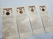 Lincoln Penny Count Stamp 4 Coin Lot Smoking Abe And Kennedy Profile Uncirculated