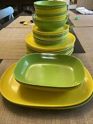 Set Of 33 Vintage Epicure Melmac Melamine Yellow Misc Dinnerware Plates And Bowls