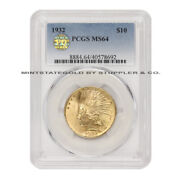 1932 10 Gold Indian Head Eagle Pcgs Ms64 Pq Approved Choice Graded Coin
