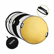 Selens 5-in-1 43 Inch 110cm Portable Handle Round Reflector Collapsible Mul...