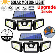 74led Solar Led Wall Light 3 Heads Pir Motion Sensor Garden Yard Lamp Waterproof