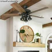 Farmhouse 52 Inch Led Indoor/outdoor Natural Iron Ceiling Fan With Led Light New