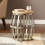 Farmhouse Table Wine Barrel Style Accent Table Hollow Drum Round End Side Table