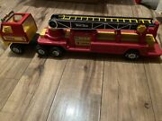 Vintage 1978 Tonka Corp Ladder Firetruck Cab And Trailer 3 Red An Yellow