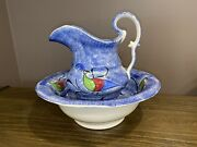 Staffordshire Spatterware Blue Spatter Bowl And Pitcher Set Peafowl Ca. 1830