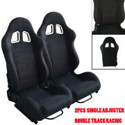 Pair Of Leather Red Single Adjuster Double Track Full Bucket Sports Seat Set