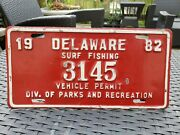 1982 Rare Red Delaware Surf Fishing Vehicle Permit Plate