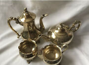 Antique Epns Ornate Silver Plated 4 Pieces Coffee / Tea Set -heavy