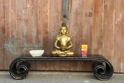 Asian Large Black Lacquer Scroll Altar Table