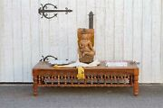 Light Brown Carved Spindle Coffee Table