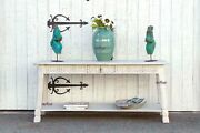 Bleached Wood Carved Tavern Console Table