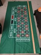Roulette And Craps Casino Large Table Felt Back-to-back 72 X 36 Inch