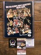 1992 Usa Olympic Men Basketball Media Guide Dream Team Program Magic Bird Signed