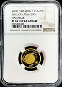 2013 Gold Canada 75 Baseball Proof 1/4 Oz Coin Ngc Proof 69 Ultra Cameo