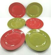 6 Euro Ceramica Portugal Dinner Plate Red Green Table Ware 10 7/8 Plates Set