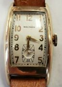 Vintage 10k Rolled Gold Plate Waltham Mens Wrist Watch Keeps Time Runs Well