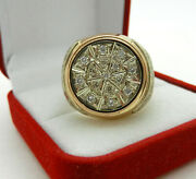 Massive 14k Rose And White Gold With Diamonds Mens Ring Made In Russia 22.8gr Sz10