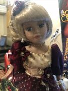 Collections Inc . Yr 2000 Christmas Porcelain Doll Cloth Body With Stand