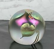 Vintage Signed Dated Stuart Abelman Glass Paperweight Hearts Vines Floral 1981