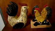 Wood Rooster And Rooster Metal Napkin Holder