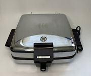 Vintage Toastmaster 259a Usa Made Chrome Waffle Maker Griddle Combo Mcm Tested