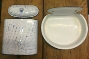 Vintage Blue And White French Enamelware Water Basin Water Fountain