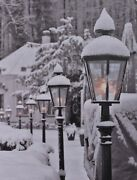 Led Light Up Canvas Pictures 40cm X 30cm Wall Hanging Art Street Lanterns And Snow