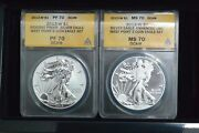 2013-w Silver Eagle 2 Coin Set Anacs Certified Ms70andrp70 Reverse/enhanced