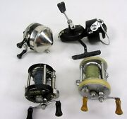 Lot Of 4 Fishing Reels 2-shakespeare 1990 1965, Zebco 33, Mitchel 300 As-is