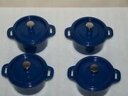 4 Wolfgang Puck Mini Blue Cast Iron Cocotte Dutch Oven Stainless Steel Knob
