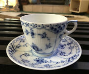 Royal Copenhagen Blue Fluted Half Lace Border Flat Cup And Saucer 756 Denmark